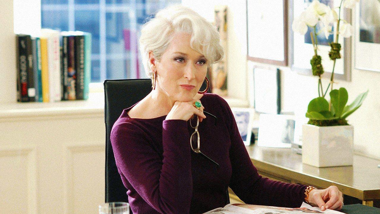 """Meryl Streep interpretando a Miranda Priestley en """"El Diablo viste a la Moda"""""""