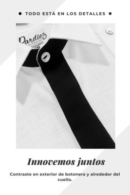 Close up a detalle en botonera externa y alrededor del cuello, con color que contrasta la guayabera.